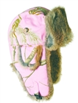L only - Pink Realtree Bomber with Brown Rabbit Fur