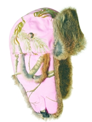 S,L only -Pink Realtree Bomber with Brown Rabbit Fur