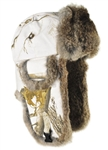 Realtree AP Snow Canvas Bomber with Brown Rabbit Fur