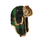 Green-Black Plaid Wool Mad Bomber hat with Brown Fur