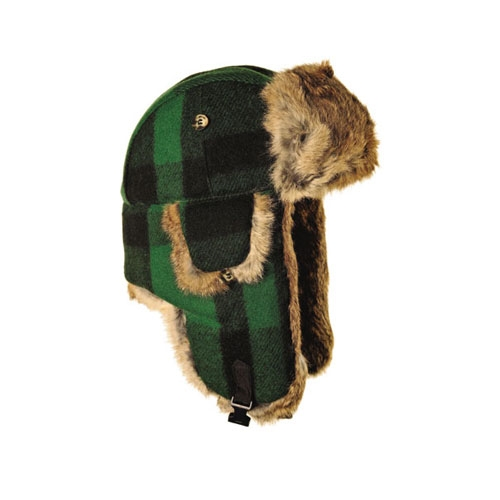 0e8058b36 S only -Green/Black Plaid Wool with Brown Fur