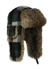 S,M, L only - Green Wool Bomber with Brown Rabbit Fur