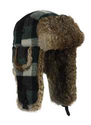 Green Wool Bomber with Brown Rabbit Fur