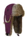 Wine Supplex Bomber with Brown Rabbit Fur