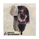 Wool Mad Bomber Maroon with Brown Rabbit Fur