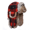 Black & Red Plaid Woollen Mad Bomber -  Brown rabbit fur