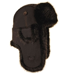 Black Supplex Mad Bomber with Black Faux Fur