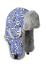 S and M - Lil Bomber Blue Skull Print with Grey Rabbit Fur