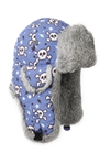 Lil Bomber Blue Skull Print with Grey Rabbit Fur