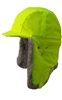 Hard Hat Cover - Lime Green w/ Grey Fur