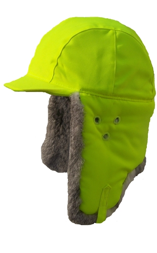 74755e3c48a43 Hard Hat Cover - Lime Green w  Grey Fur