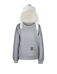 Mad Hoodie. Comfy Cotton/poly sweatshirt fleece with Sherpa lined Bomber Hoodie. Full front pocket. White straps ties Bomber snug for that extra warmth.