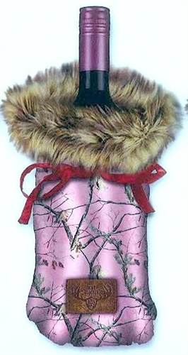 c7185d69c94c Bottle Cover - Fur and Camo Wine Bag  Pink Real Tree with Brown Faux Fur