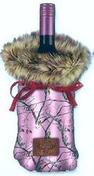 Bottle Cover - Fur and Camo Wine Bag; Pink Real Tree with Brown Faux Fur