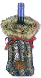 Bottle Cover - Fur and Camo Wine Bag; Real Tree with Brown Faux Fur
