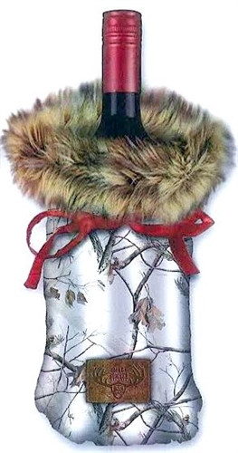 cb2017303d6d Bottle Cover - Fur and Camo Wine Bag  Snow Real Tree with Brown Faux Fur