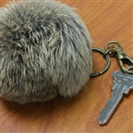 Brown Rabbit Fur Ball key-ring. Comes in luxury gift box ready to give to that special Mad Bomber fan.