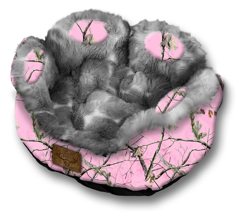 Excellent New! Mad Bomber Pet Bed-RealTree Pink Camo with Faux Fur CM78