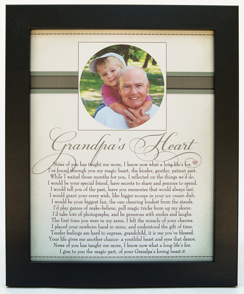 Grandpa\'s Heart Poem Home Decor Frame 8x10