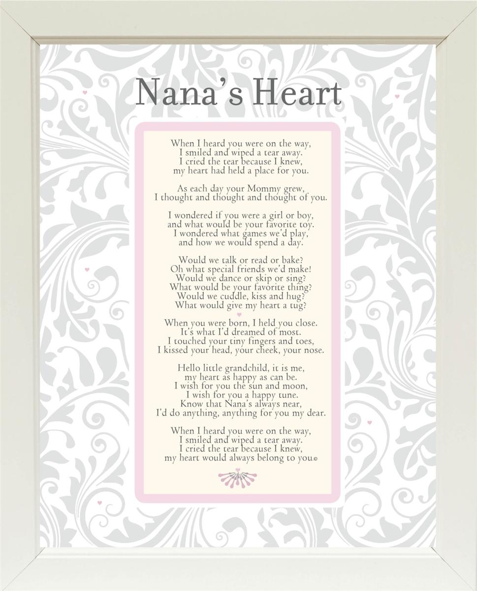 Nana\'s Heart Poem Frame 11x14 White