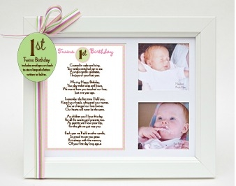 Twins' First Birthday Keepsake Frame