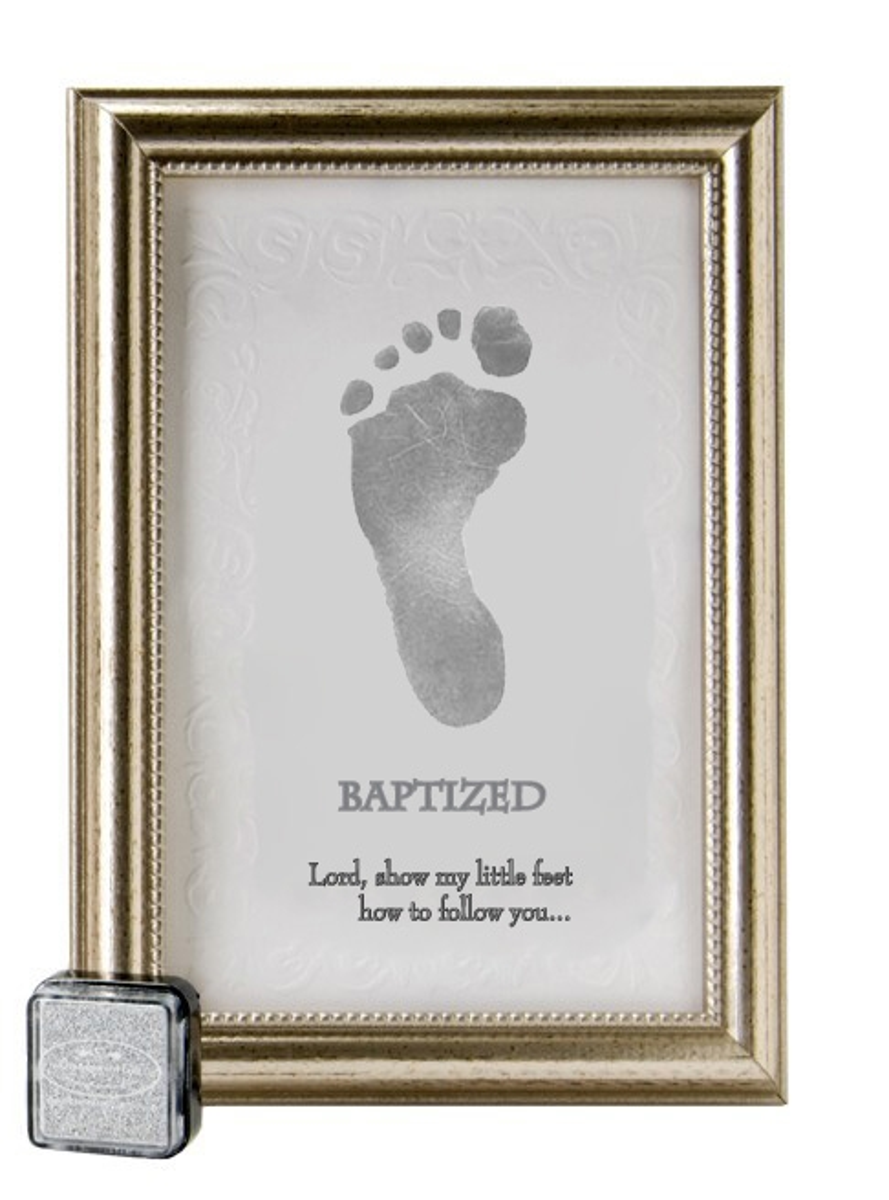 baptized footprint keepsake frame