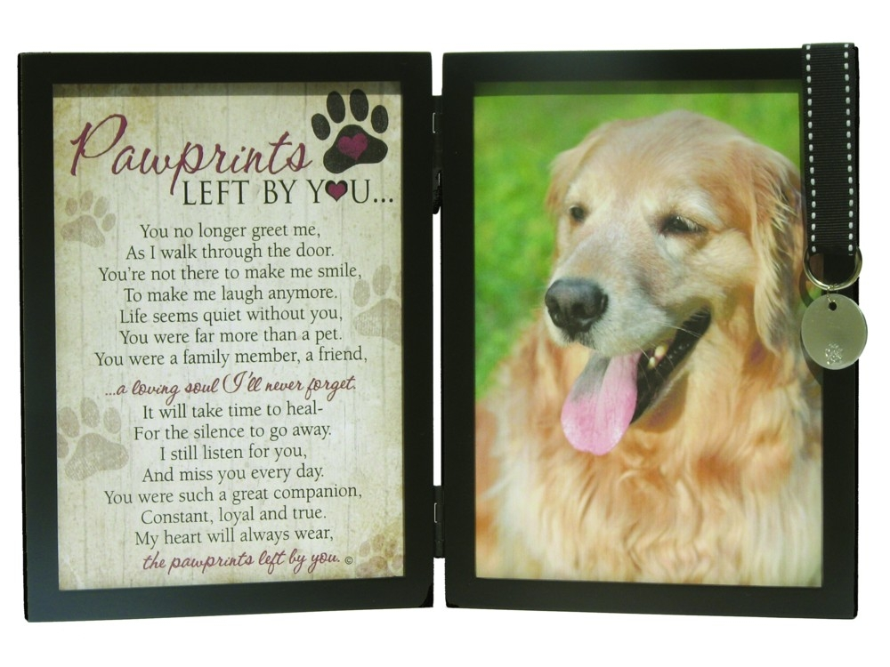 paw prints on our heart dog memorial picture frame