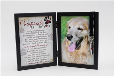 Pawprints Left by You Pet Memorial Frame with Ash Vial