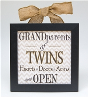 Grandparents of Twins Sign: Hearts & Doors