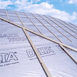Delta Maxx Titan underlayment by Cosella Dorken , The highly vapor permeable, reflective, watertight roof underlay with energy saving properties. Cool in the summer, warm in the winter.