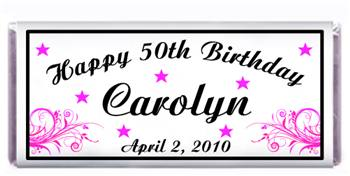 Birthday Pink Scroll Candy Bar