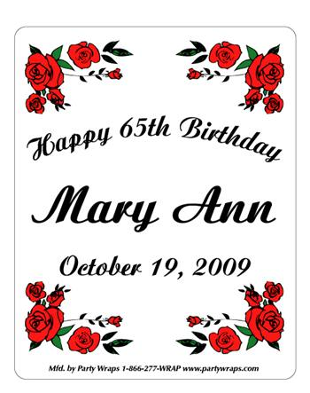 Birthday Rose Border Label