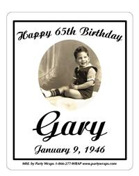 Birthday Black & White Photo Label