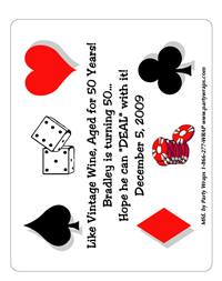 Birthday Casino Label