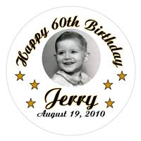 Birthday Photo & Stars Label