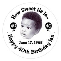 Birthday Photo & Balloons Label