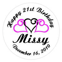 Birthday Triple Heart Label