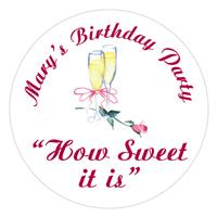 Birthday Champagne Glasses Rose Label
