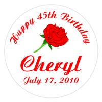 Birthday Red Rose Label