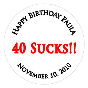 Birthday 40 Sucks Label