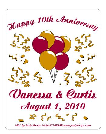 Anniversary Balloon Confetti Label
