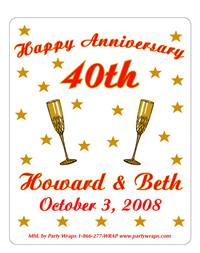 Anniversary Champagne Glasses Label