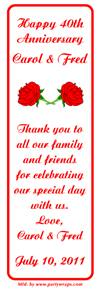 Anniversary Double Red Rose Bookmarker