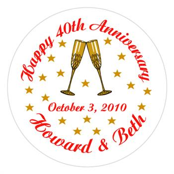Anniversary Champagne Glasses Lollipop