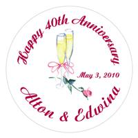 Anniversary Champagne Glasses Rose Lollipop