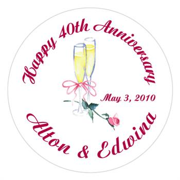 Anniversary Champagne Glasses Rose Label