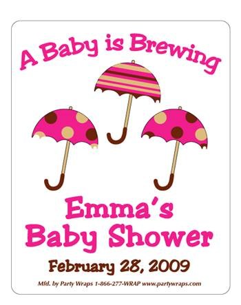 Baby Shower Umbrella Label