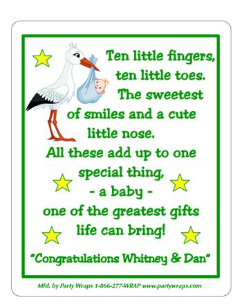Baby Shower Stork Label
