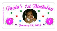 Childrens Birthday Photo Burst Label