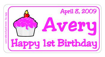 Childrens Birthday Cupcake Label